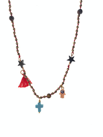 Turquoise cross dainty short necklace gold hematite stones red tassel Fatima hand evil eye