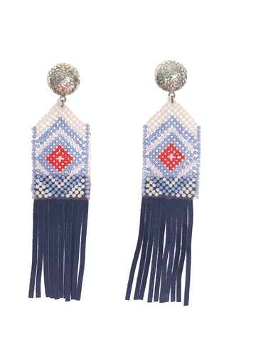 Heritage suede leather fringe earrings
