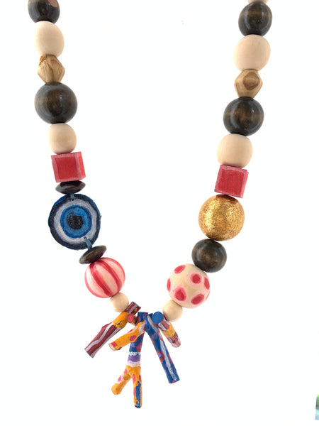 Wood necklace gold leaf bead hand painted inamullumani by LUMA qusus awad