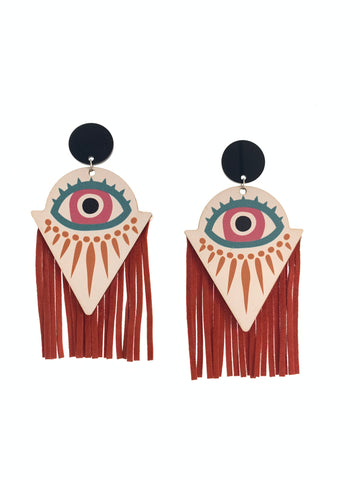 Statement wood and suede fringe earrings