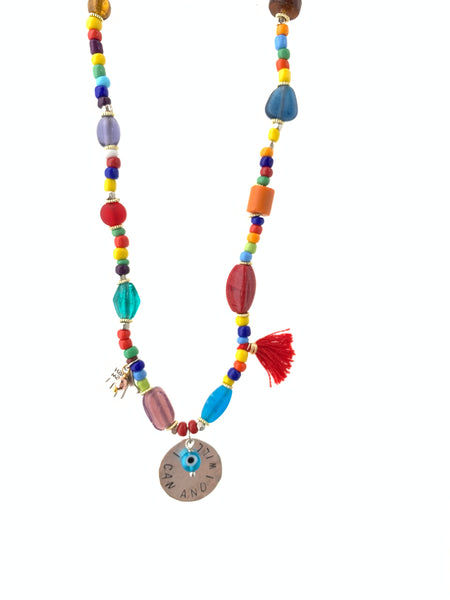 Necklace with colored glass beads