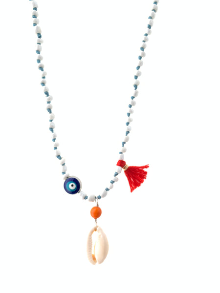 Blue eye white glass beads blue waxed thread seashell pendant and red tassel inamullumani
