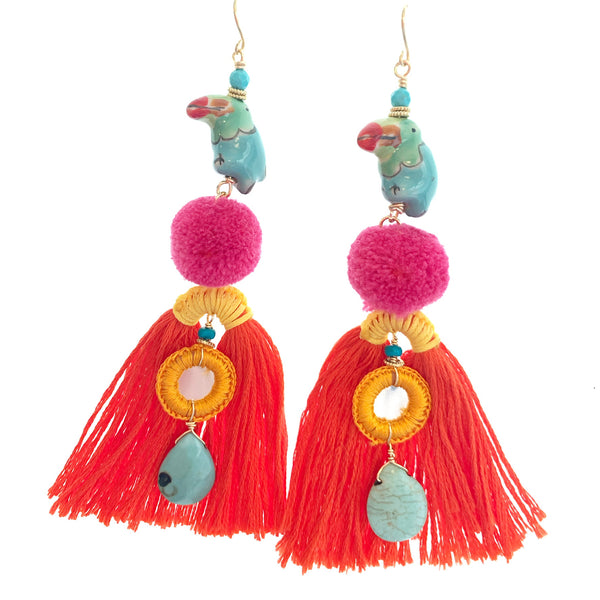 Tropical tassel earrings orange