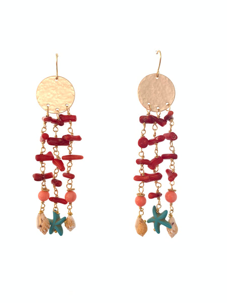 Coral and shell earrings