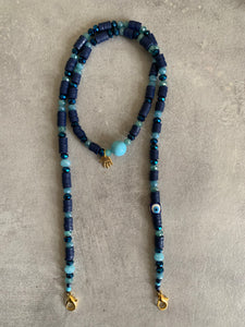 Mask chain necklace blue and evil eye