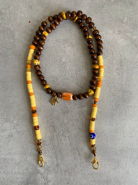 Mask chain wood yellow and orange
