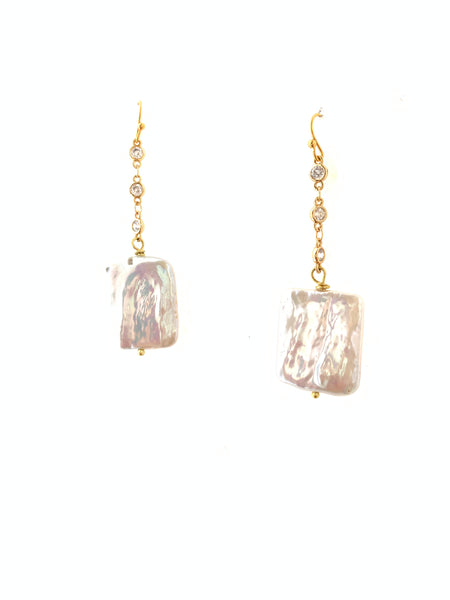 Baroque rectangle fresh water pearl earrings