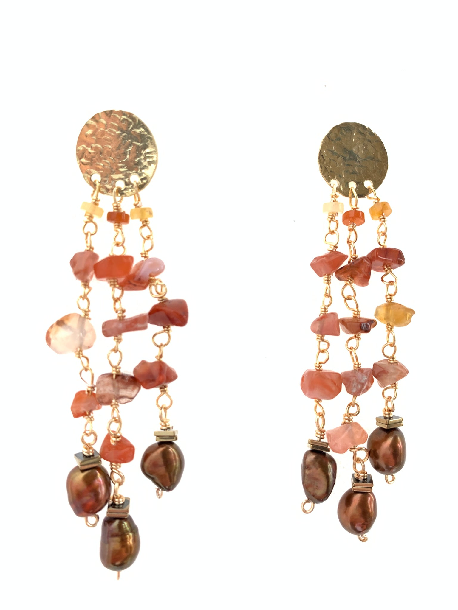 Inamullumani custom  dangling earrings silver jewelry gold plated carnelian gemstone