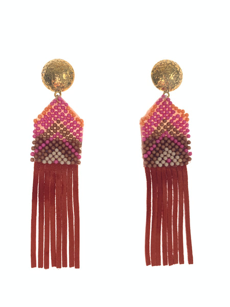 Heritage suede fringe earrings