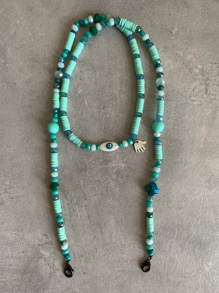 Mask chain necklace mint green