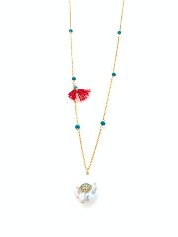 Gold plated on silver necklace with turquoise stones and eye on round pearl pendant