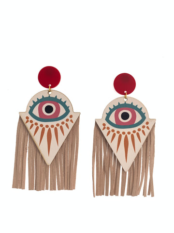 Statement wood and side fringe earrings