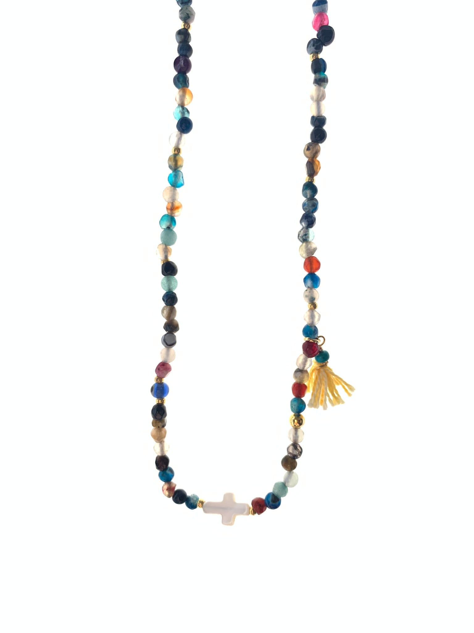 Dainty necklace Small coloured agate stones mother of pearl cross yellow tassel inamullumani