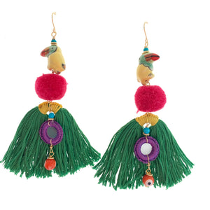 Tropical tassel earrings green