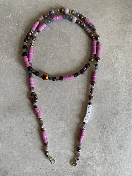 Mask lanyard chain necklace pink purple