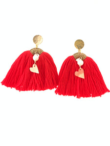 Red tassel earrings heart charm handmade gold