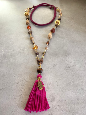 Gemstone mask chain Burgundy
