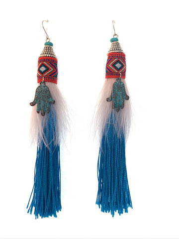 Blue tassel earrings with pink feathers and Fatima hand