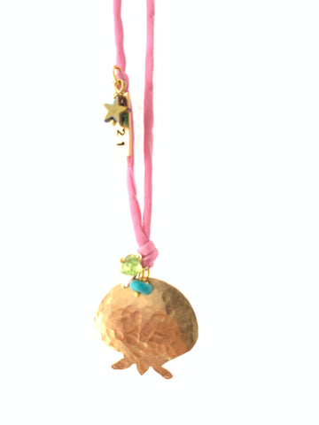 Brass pomegranate pendant with pink silk adjustable necklace