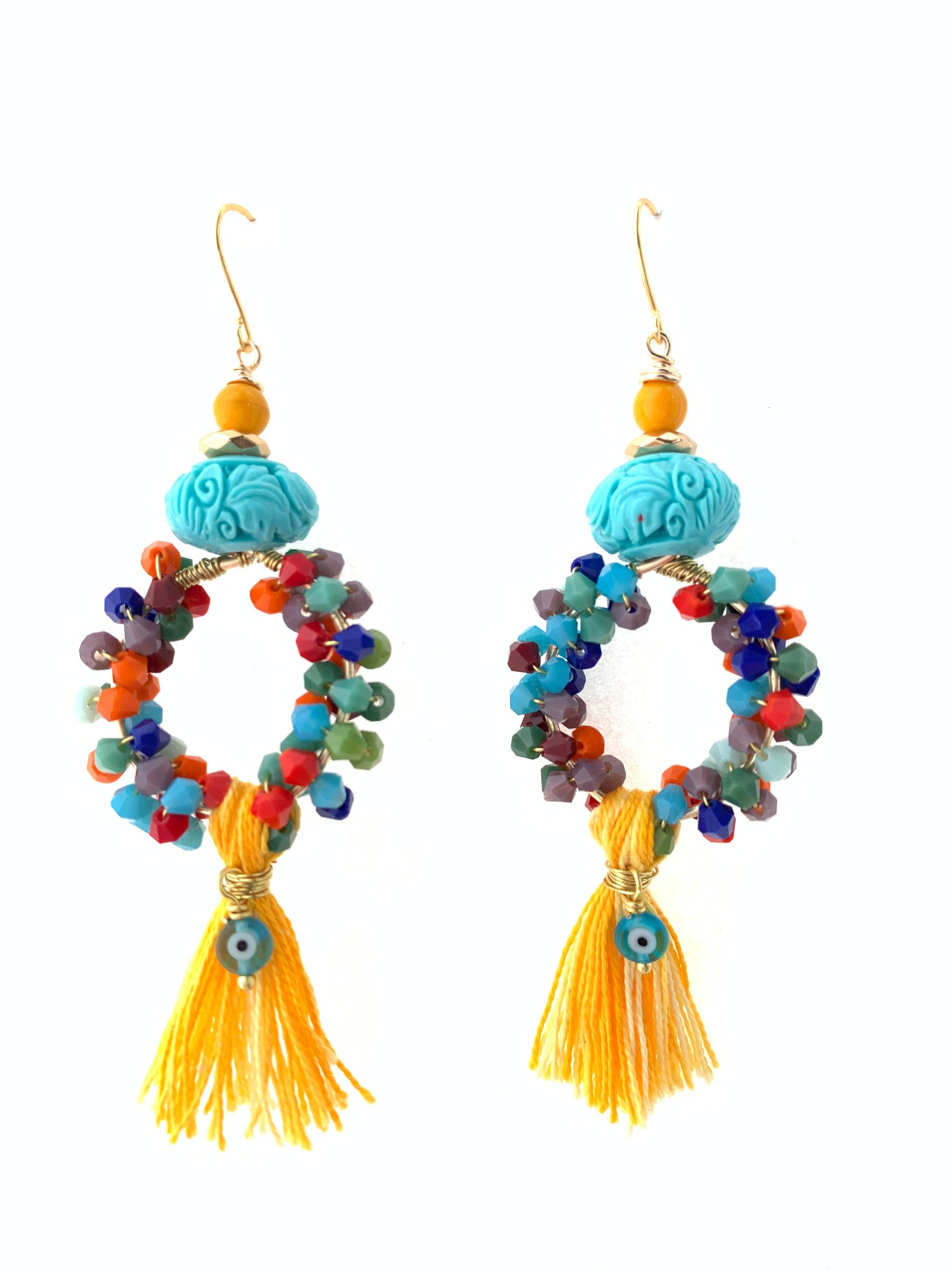 Statement earrings blue colourful earrings inamullumani tassel