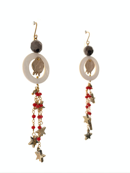 Pomegranate star earrings