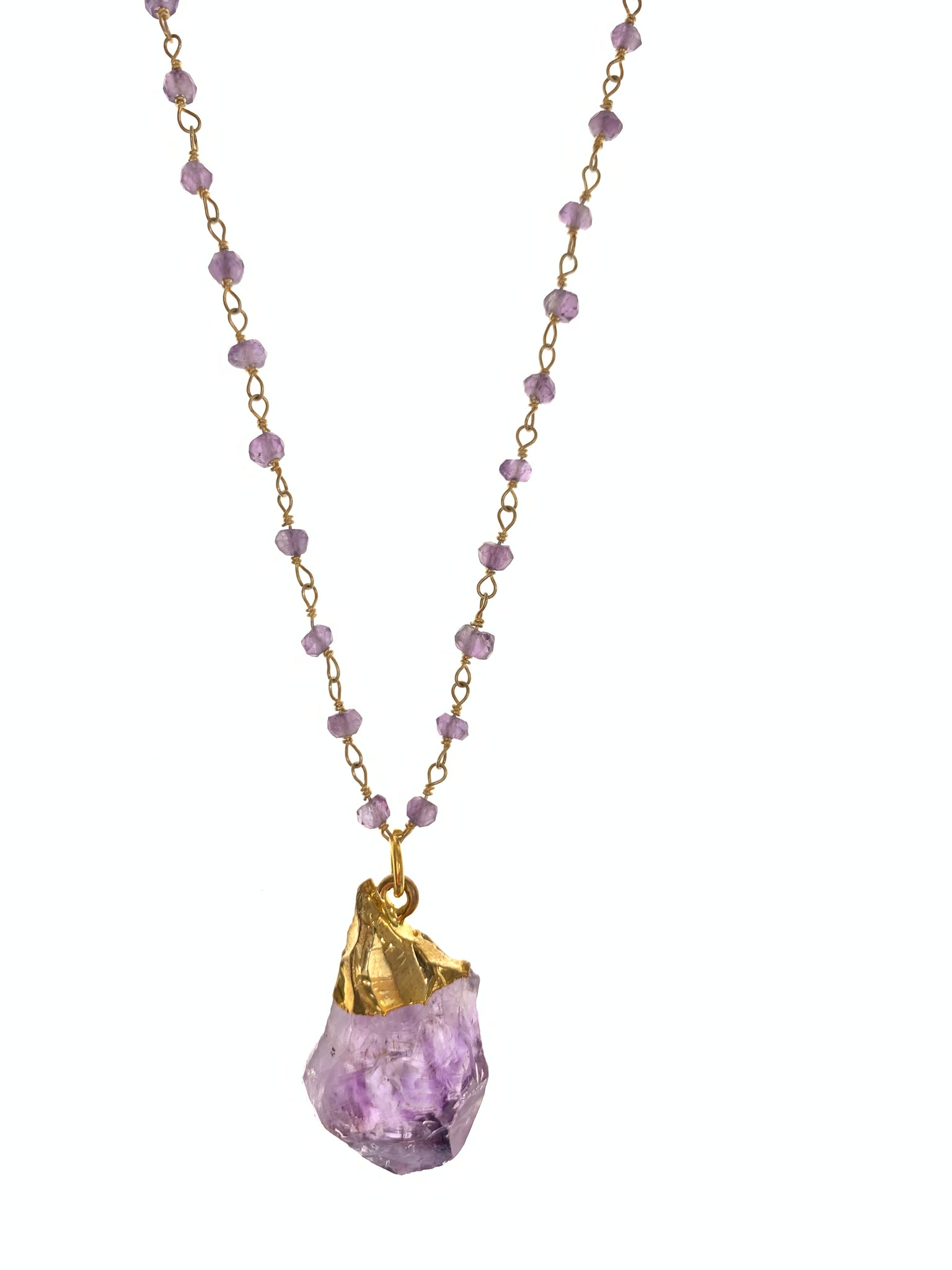 Dainty necklace with amethyst pendant