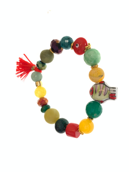 Colourful stretch bracelet with green stones and fish charm