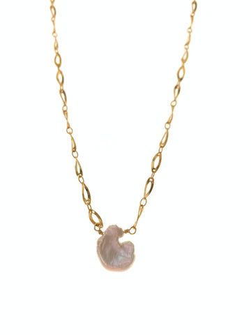 Single keshi pearl necklace on gold plated chain