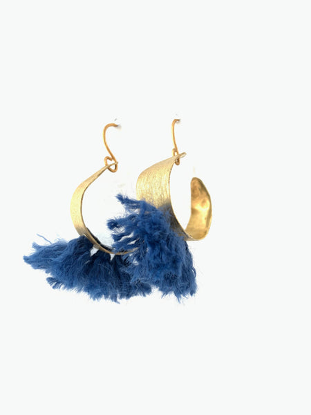 Small hoop earrings blue