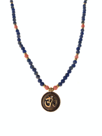Dainty necklace lapis coral stones gold plated on pendant handmade inamullumani