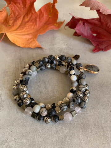 Pyrite agate and onyx stretch bracelets