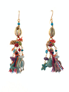 Shell and tassel earrings