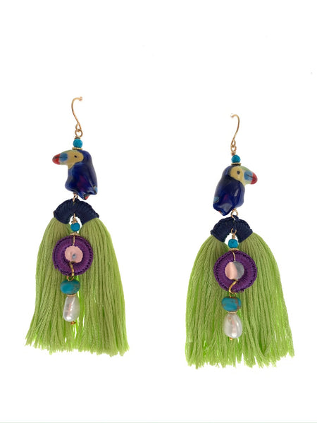 Tropical tassel earrings in pistachio