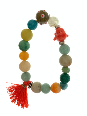 Buddha bracelet with green stones and tassel