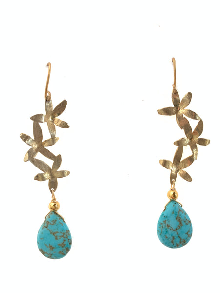 Inamullumani howlite turquoise stone hook earrings handmade jewelry sterling silver flower design