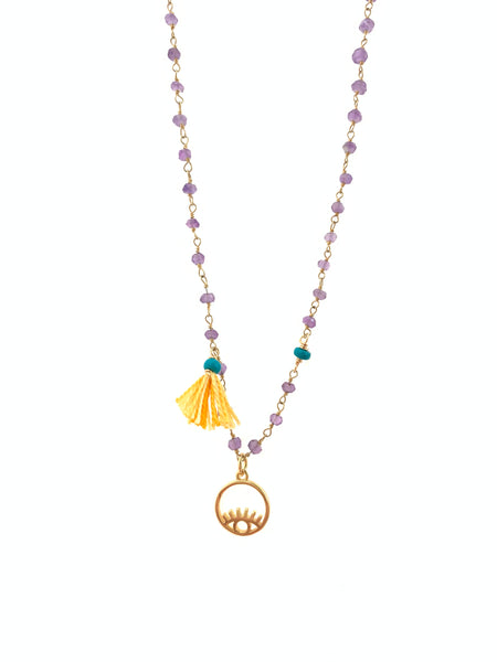 Dainty amethyst necklace with 18k gold plated eye and yellow tassel.