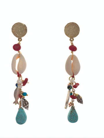 Shell earrings coral fish