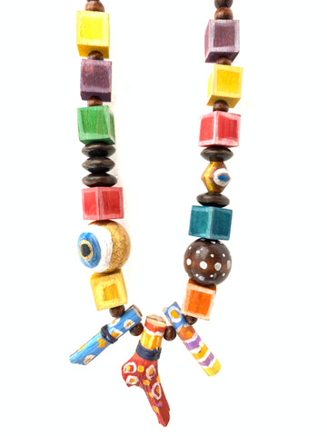 Hand painted wood beads Inamullumani evil eye gold leaf colorful jewelry art to wear