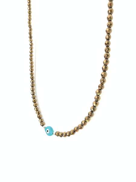 Dainty eye necklace with hematite