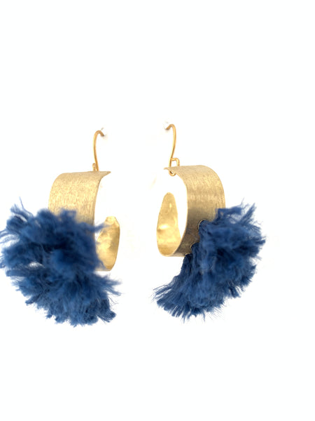 Hoop earrings hammered brass blue tassel