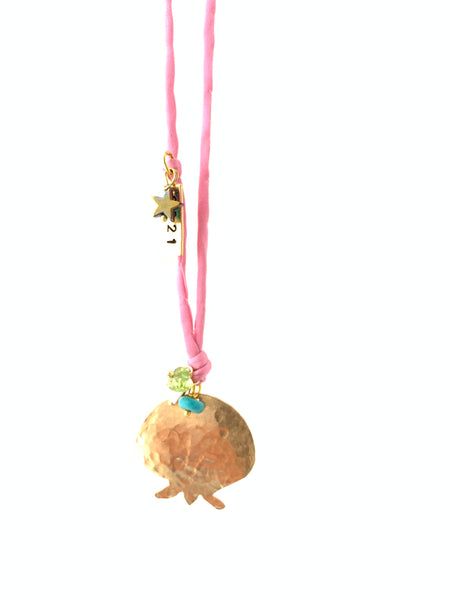 2021 pomegranate charm necklace in pink silk