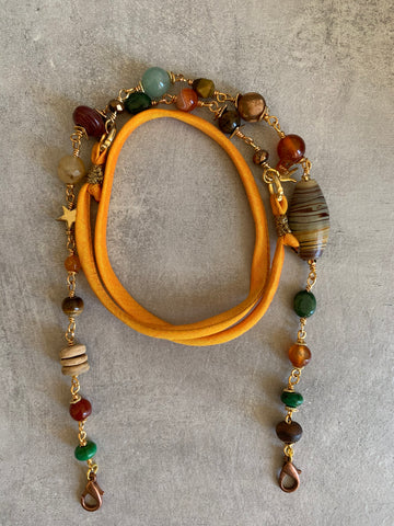 Mask lanyard with tiger's eye Agate and jade stones