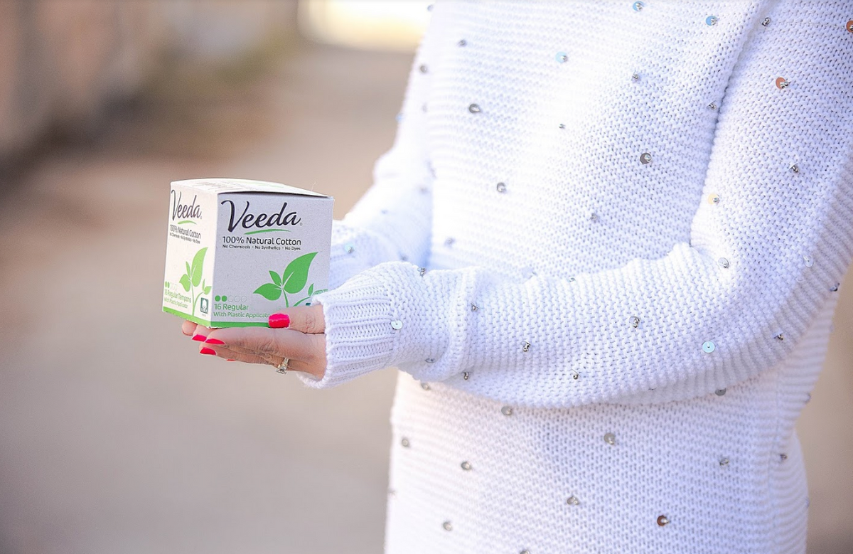 Veeda 100% natural cotton tampons, pads, and liners without chemicals or synthetics