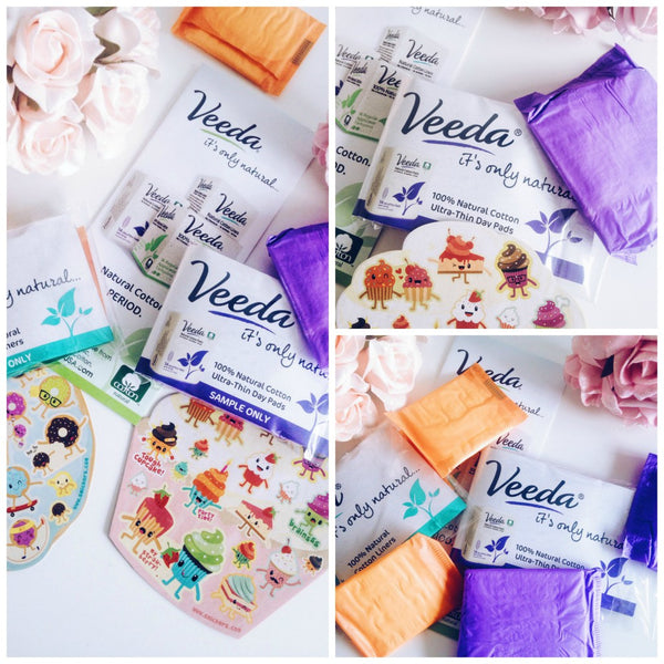 Veeda cotton pads, liners and tampons