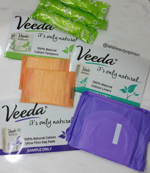 Veeda natural cotton tampons, pads and liners