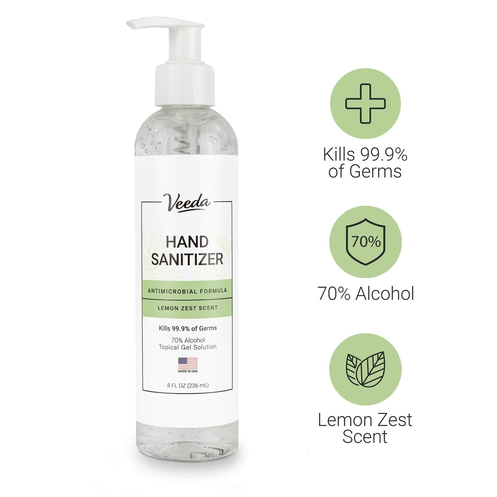 1 Bottle of Hand Sanitizer - Moisturizing Antimicrobial Formula (Made in USA)