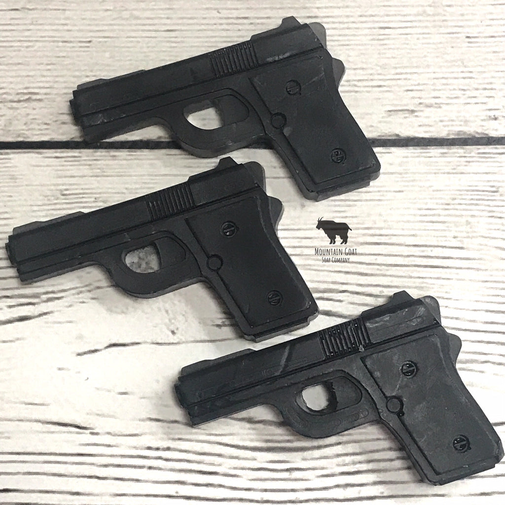 Novelty Mini Gun Soaps (Crackling Woods & Vanilla) - Mountain Goat Soap Co.