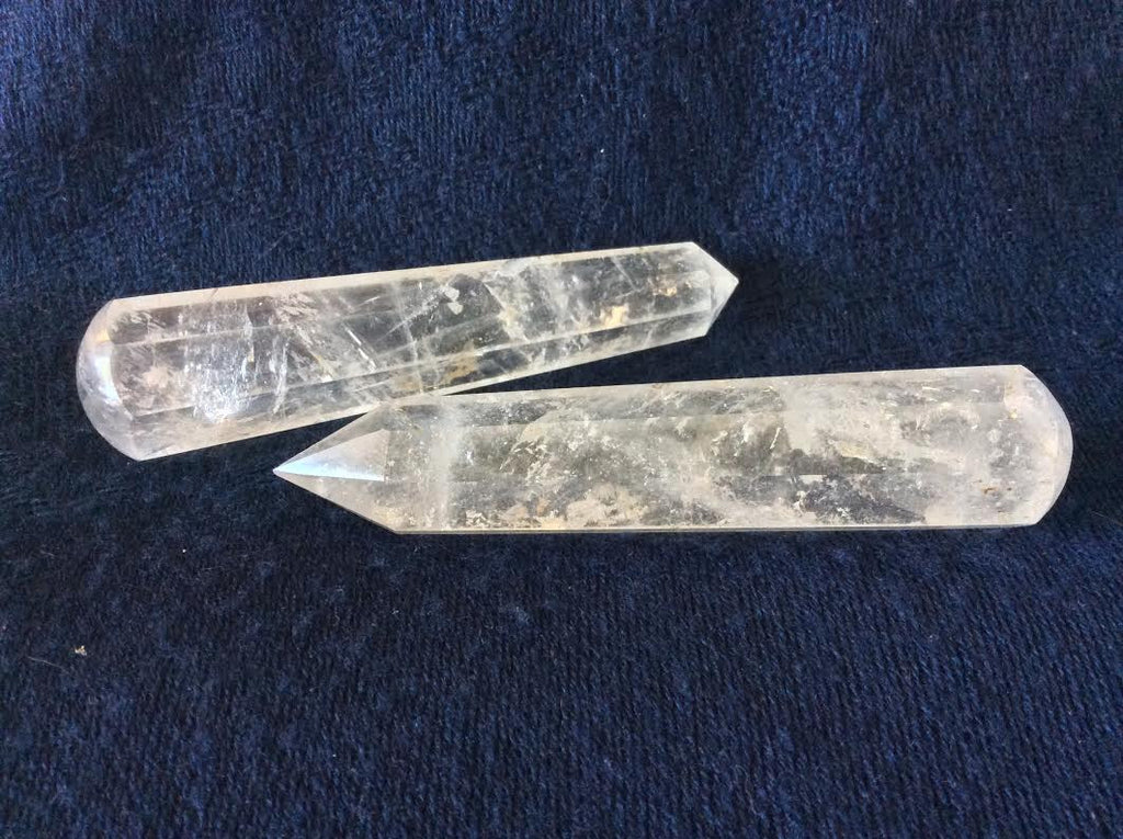 Clear Quartz Faceted Massage Wand