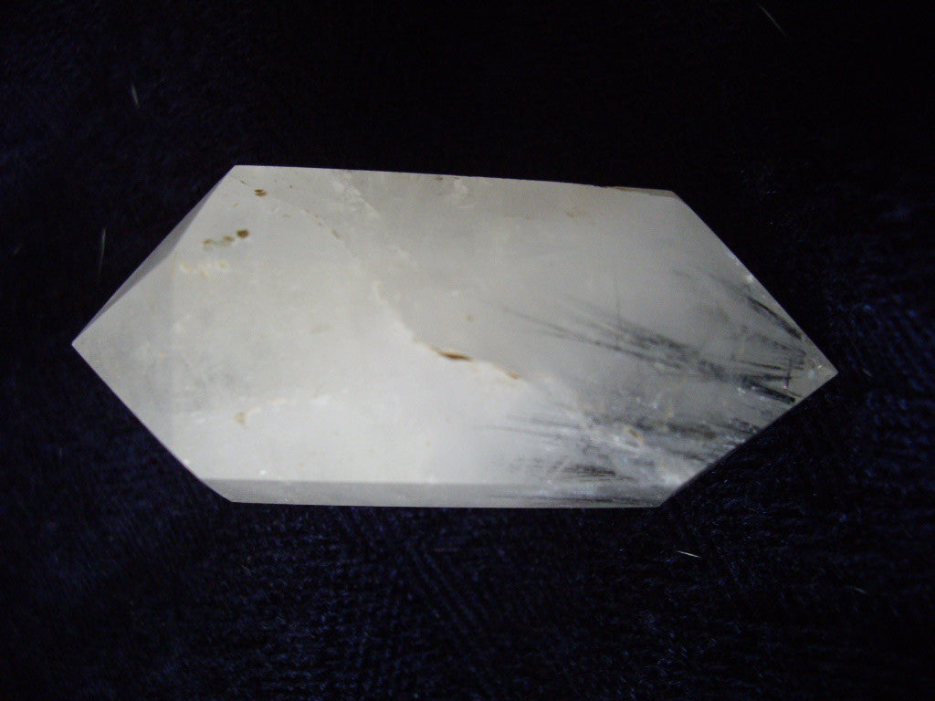 Milky Quartz with Black Tourmaline Double Terminated Crystal Point