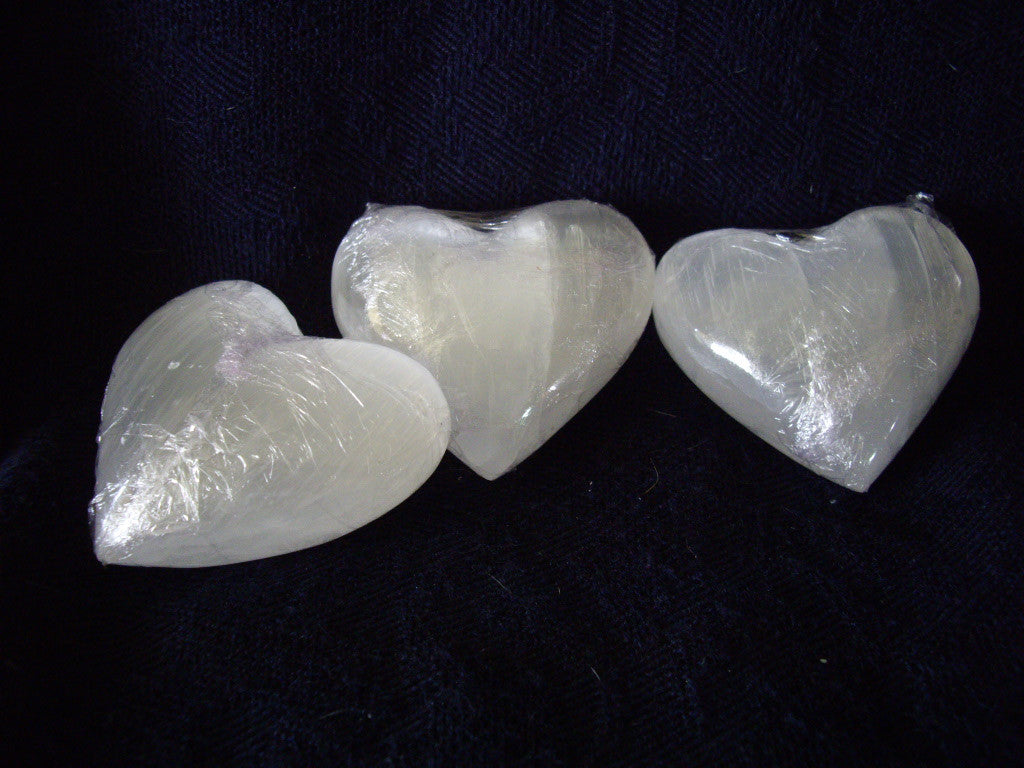 Polished White Selenite Puffy Hearts